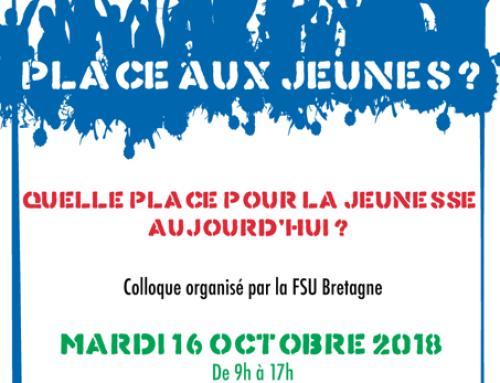 «Place aux jeunes?» – Éducation, emploi, espace public… Quelle place pour la jeunesse aujourd'hui ? Stage organisé par la FSU Bretagne
