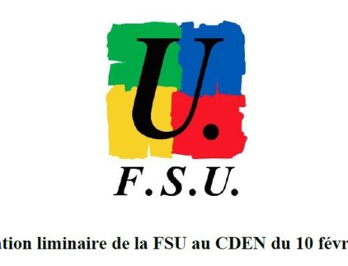 Déclaration de la FSU et déclaration intersyndicale au CDEN du 10 février 2021