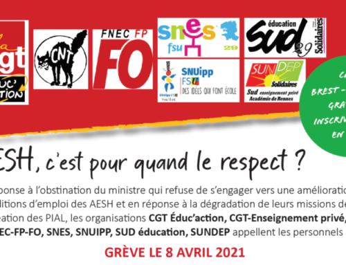 Toutes et tous devant la DSDEN le 8 avril avec les AESH!