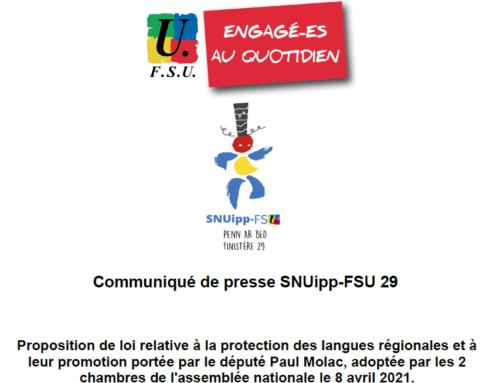 Communiqué de presse SNUipp-FSU 29 loi Molac